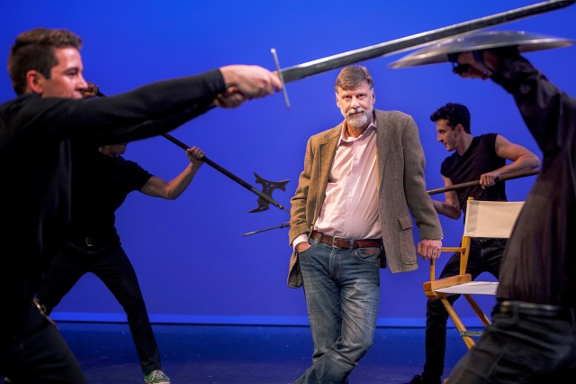 Brent Gibbs, (center) associate professor and artistic director, and certified fight director of Arizona Repertory Theatre at the University of Arizona, is directing two Shakespeare plays this spring: The Tempest and Comedy of Errors, using one set and one cast. Photograph by John de Dios/UANews