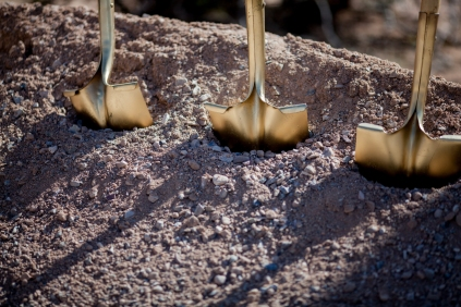 Golden shovels await Arizona dignitaries and Raytheon leaders at the groundbreaking for the new Aerospace Parkway in Tucson, Ariz.