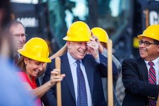 Senator John McCain joins Rep. Martha McSally and other Arizona leaders at a groundbreaking in Tucson, Ariz.