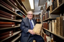 Roger Myers, associate librarian and archivist at the Special Collections Library, is the co-currator for the First Folio exhibition and can speak on the texts that are selected for display. Photograph by John de Dios/UANews