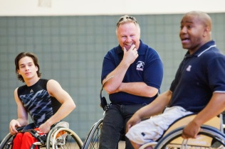 Pete Hughes, the head coach for the women's wheelchair basketball team, gets a good laugh during the basketball workshop at the GPS sports camp. Photograph by John de Dios/UANews